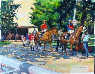 Paddock Horse Race Original Painting Colorful ART SALE