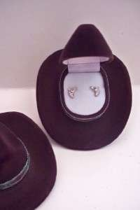 New HORSE HEAD VELOUR BOX NECKLACE EARRINGS SET HORSE LOVER COWBOY HAT