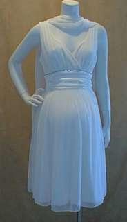 Ivory Vneck Cocktail Rhinestone Line Trim Satin Sash Maternity Dress