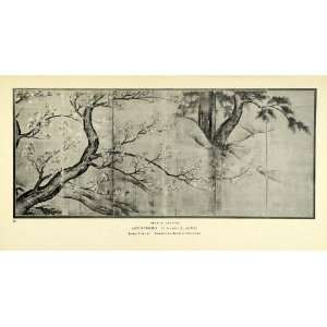 1935 Print Maple Leaves Japanese Screen Art Kano Fenollosa