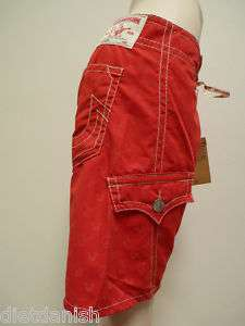 True Religion Jeans Mens Buddha Red Board Shorts 34