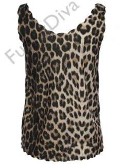 NEW LADIES LEOPARD PRINT SCALLOP EDGE VEST TOPS WOMENS TOP 8 14