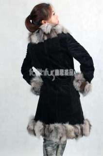 Pig Suede Leather Long Coat with Silver Fox Fur Trimmed