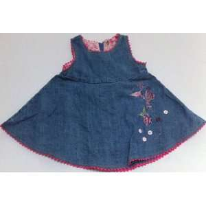 Baby Girl 18 Months, Denim Embroidered Frock Dress with
