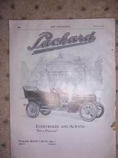 1907 Old Auto Ad Packard Motor Car Vintage O
