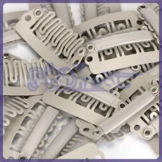 20 Metal Snap Clips 28mm Girls Hair Weft Extension Craft
