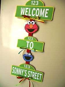 Sesame Street Elmo Cookie Monster Birthday Party Baby Shower Door Sign