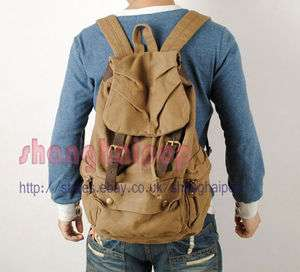 Khaki Retro Canvas Rucksack Backpack Bag Travel School
