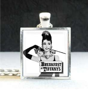 Audrey Hepburn Breakfast at Tiffany Movie Art Charm Sterling Silver Pl