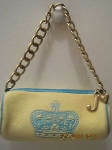 JUICY COUTURE YELLOW AND BLUE TERRY TOOTSIE ROLL PURSE HANDBAG