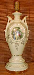 Vtg French Porcelain Urn Style Table Lamp Victorian Signed George