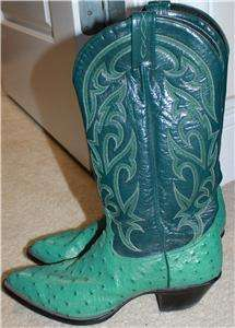 TONY LAMA OSTRICH TEAL BOOTS SIZE 7.5