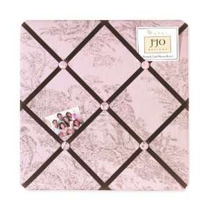 Pink Brown French Toile Fabric Memory/Memo Photo Bulletin