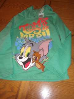 NWT GIRLS GREEN TOM & JERRY SWEATSHIRT HOODIE L 10 12
