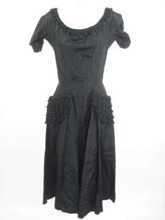 Vint. Perette Black Nylon Embellished Cocktail Dress 8