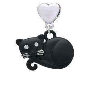 Curled Up Matte Black Cat European Heart Charm Dangle Bead