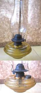 Vintage Glass OIL LAMP,Amber Yellow Font,Chimney