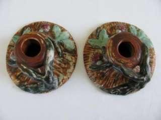 Figural Art Pottery Candlesticks Chamber Sticks Trunk Handle