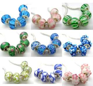 R257 5pcs lovely Murano Glass Bead Fit European Charm Bracelet
