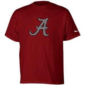 Nike Alabama Crimson Tide Crimson Houndstooth Logo T shirt