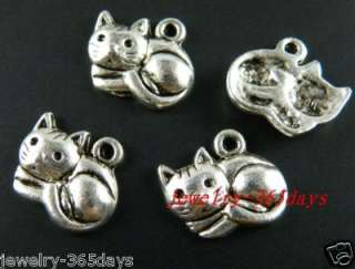 120pcs Tibetan Silver Nice Cat Charms Pendants 14x13mm