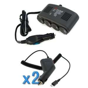 EZOPower 4 Port Car Cigarette Lighter Socket & USB Port 1A
