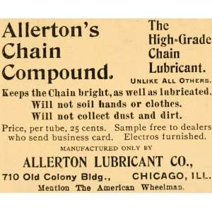 1896 Ad Allerton Lubricant Chicago Chain Compound Bicycle Bike