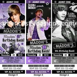 Justin Bieber Birthday Party Ticket Invitation Favor 4x6 express pics