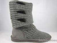 BEARPAW KNIT TALL 14 BOOT GRAY FOLDABLE FABRIC SHEEPSKIN WOMENS ALL