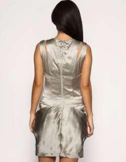 BNWT Karen Millen Silver Grey Silk Dress sz 10 RRP £165