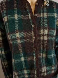 Vintage 50s Blue Green+Brown PLAID Cardigan Sweater M L