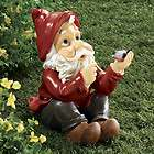 Sitting garden gnome with bird in hand sculpture statue whimsical new