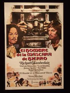 THE MAN IN THE IRON MASK RICHARD CHAMBERLAIN POSTER 1s