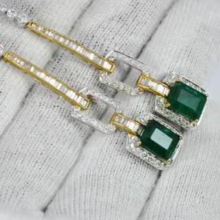 18k Gold Natural Emerald Diamond Ladies Earrings Pair handmade