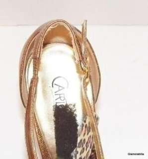 HOT CARLOS SANTANA~BELIEVE~Strappy Peep toe Stiletto, Gold Patent