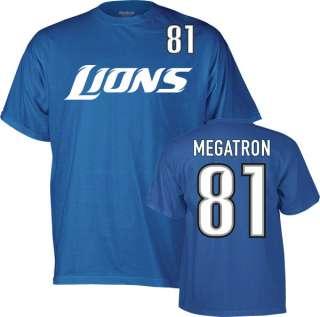 Calvin Johnson #81 Blue Reebok Detroit Lions Megatron Name & Number