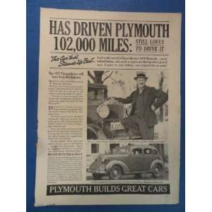 old plymouth.) Orinigal 1937 Vintage Liberty Magazine Ad.: Everything