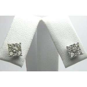 1.0cts Blinding Diamond & White Gold Post Earrings 14k