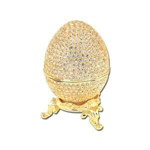 Gold Plated Enamel Swarovski Crystal Faberge Style Egg Keepsake Box