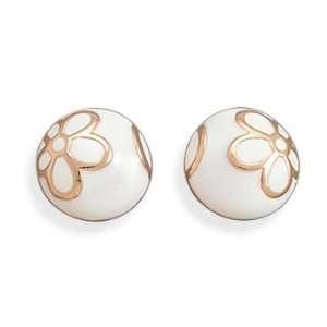 Locker White Enamel and 14 Karat Rose Gold Plated Earrings Jewelry