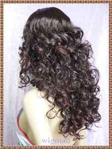 Super Long Curly Dark Brown Hair Wig w/Gift (X23 ab)