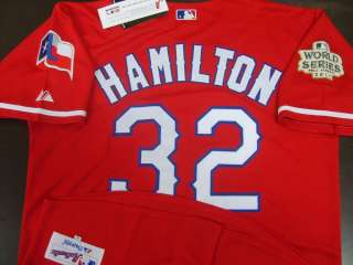 NEW Rangers #32 Josh Hamilton 2011 World Series Patch Red Jersey