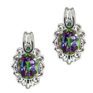 Green Mystic Topaz and Green Diamond Sterling Silver Earrings Jewelry
