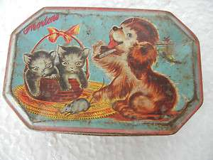 Vintage Dog, Cat & Mouse Print Morton Confectionery Tin Box
