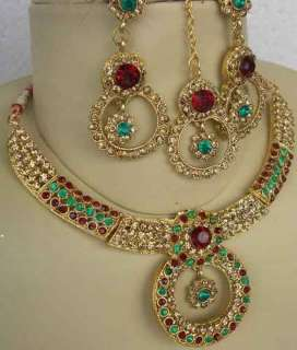 INDIAN BOLLYWOOD ELEGANT GOLD PLATED RED & GREEN KUNDAN NECKLACE SET