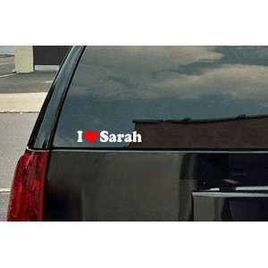 I Love Sarah Vinyl Decal   White with a red heart