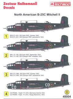 Techmod Decals 1/48 B 25C MITCHELL II Bomber