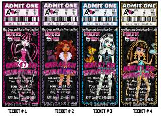 Monster high birthday party invitations passes favors birthday monster birthday party on monster high birthday party invitations vip passes and favors several stopboris Images