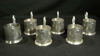 1960s RUSSIAN SPUTNIK 1 SPACE MODEL TEA GLASS CUP HOLDER COASTER SET