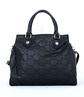 AUTHENTIC Loungefly ~ HELLO KITTY BLACK EMBOSSED FAUX LEATHER SATCHEL